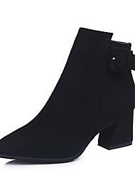 cheap -Women's Heels Chunky Heel Pointed Toe Nylon Mid-Calf Boots Casual Spring / Fall & Winter Black