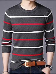cheap -Men's Striped Long Sleeve Pullover Sweater Jumper, Round Neck White / Navy Blue / Gray US32 / UK32 / EU40 / US34 / UK34 / EU42