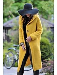 abordables -Femme Quotidien Longue Manteau, Couleur Pleine Capuche Manches Longues Polyester Beige / Gris / Jaune / Mince