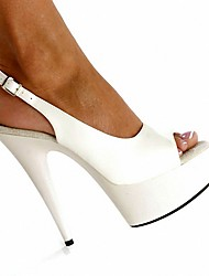 cheap -Women's Sandals Stiletto Heel Peep Toe PU British Summer / Fall Black / White / Party & Evening