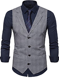 cheap -Polyester Wedding Party / Valentine's Day Vests Plaid Checkered