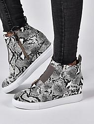 cheap -Women's Sneakers Wedge Heel Round Toe PU Summer Black / Brown / Wine