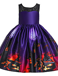 cheap -Kids Toddler Girls' Active Cute Floral Color Block Halloween Pleated Lace up Print Sleeveless Knee-length Dress Rainbow