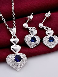 cheap -Women's AAA Cubic Zirconia Drop Earrings Pendant Necklace 3D Heart Stylish Unique Design Silver Plated Earrings Jewelry Blue For Daily Work 1 set