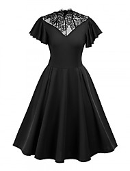 cheap -Audrey Hepburn Retro Vintage Little Black Dress 1950s Wasp-Waisted Dress Masquerade Women's Lace Costume Black Vintage Cosplay Party