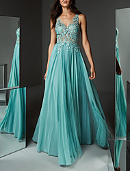 cheap -A-Line Elegant Formal Evening Dress Plunging Neck Sleeveless Floor Length Chiffon Lace with Pleats Appliques 2020
