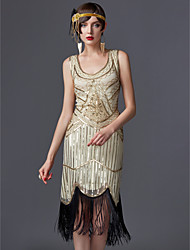 cheap -The Great Gatsby Charleston 1920s Roaring Twenties Masquerade Cocktail Dress Women's Sequins Tassel Costume Black / White / Champagne Vintage Cosplay Party Homecoming Prom Sleeveless Knee Length