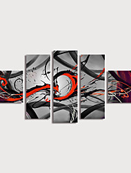 cheap -Oil Painting Hand Painted - Abstract Modern Stretched Canvas / Five Panels