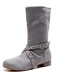 cheap -Women's Dance Shoes Faux Leather Dance Boots Boots Thick Heel Customizable Gray