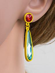 cheap -Women's Multicolor Drop Earrings Pear Cut Drop Stylish Simple European Earrings Jewelry Royal Blue / Brown / Rainbow For Daily 1 Pair
