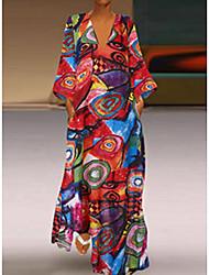 cheap -Women's Maxi Plus Size Yellow Red Dress Basic Shift Geometric Deep V Print M L Loose