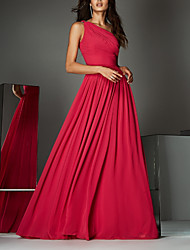 cheap -A-Line Empire Red Wedding Guest Formal Evening Dress One Shoulder Sleeveless Sweep / Brush Train Chiffon with Pleats Ruched 2020