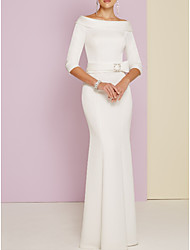 cheap -Sheath / Column Bateau Neck Floor Length Charmeuse Half Sleeve Vintage / Plus Size Mother of the Bride Dress with Sash / Ribbon 2020