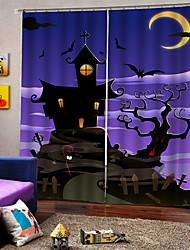 cheap -Purple Halloween Elegant Design High Definition Indelible Curtains 3D Digital Printing Soundproof Fabric Curtain