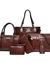 cheap -Women's Zipper PU Bag Set Solid Color 6 Pieces Purse Set Black / Brown / Red
