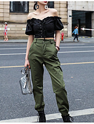cheap -Women's Street chic Cargo Pants - Solid Colored High Waist Black Green S M L