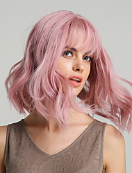 cheap -Synthetic Wig Body Wave Bouncy Curl Bob Asymmetrical Neat Bang Wig Pink Medium Length Pink Synthetic Hair 12 inch Women's Life Synthetic Natural Hairline Pink HAIR CUBE / For Black Women