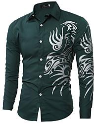 cheap -Men's Graphic Shirt Daily Wine / White / Black / Blue / Red / Blushing Pink / Green / Royal Blue / Long Sleeve