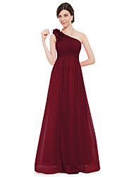 cheap -A-Line One Shoulder Floor Length Chiffon Elegant Formal Evening Dress 2020 with Side Draping