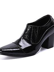cheap -Men's Novelty Shoes Patent Leather Spring & Summer / Fall & Winter British Loafers & Slip-Ons Height-increasing Black