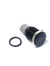 Недорогие -16 мм 12 В с защелкой кнопка питания черный металл синий светодиодный водонепроницаемый переключатель