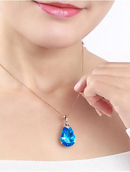 cheap -Women's Blue Crystal Pendant Necklace Pear Cut Drop Fashion Brass Gold Plated Light Blue 45+5 cm Necklace Jewelry 1pc For Gift Daily