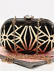 Недорогие -Жен. Цепочки PU Вечерняя сумочка Сплошной цвет Черный / Белый / Золотой