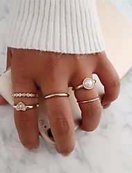 cheap -Women's Ring Set Multi Finger Ring 5pcs Gold Alloy Simple European Trendy Party Daily Jewelry Heart