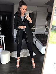 abordables -Femme Quotidien Longue Manteau, Couleur Pleine Capuche Manches Longues Polyester Noir / Rouge / Gris