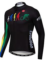 cheap -21Grams Evolution Men's Long Sleeve Cycling Jersey - Black Bike Jersey Top UV Resistant Breathable Moisture Wicking Sports Winter Fleece Polyester Elastane Mountain Bike MTB Road Bike Cycling / Lycra