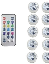 cheap -10X RGB LED Submersible Light Bulb Button Battery Round Candle  Underwater Lamp With Free Remote Control IP68 Waterproof Dimmable Lamp For Pond Swimming Pool Decoration Lighting (come with battery)