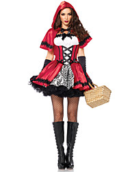 cheap -Little Red Riding Hood Costume Women's Fairytale Theme Halloween Performance Theme Party Costumes Women's Dance Costumes Satin Bowknot