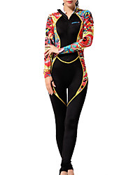 cheap -HISEA® Women's Rash Guard Dive Skin Suit Spandex Diving Suit Breathable Quick Dry Long Sleeve Back Zip - Diving Surfing Water Sports Fashion Floral Botanical Spring Summer
