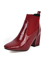 cheap -Women's Boots Chunky Heel Square Toe Patent Leather Booties / Ankle Boots Classic Fall & Winter Black / Dark Red / White / Party & Evening