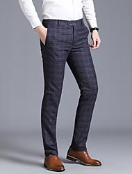 cheap -Men's Basic Dress Pants Pants Plaid Checkered Navy Blue Gray US34 / UK34 / EU42 US36 / UK36 / EU44 US38 / UK38 / EU46