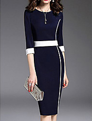 cheap -Women's Green Navy Blue Dress Spring Daily Shift Solid Colored Formal Style S M Slim
