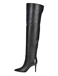 cheap -Women's Boots Over-The-Knee Boots Stiletto Heel Pointed Toe Faux Leather Over The Knee Boots British / Minimalism Winter Black / Party & Evening