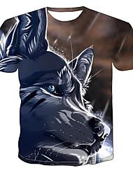 levne -Pánské Větší velikosti Barevné bloky 3D Vlk Tisk Tričko Základní Přehnaný Denní Jdeme ven Kulatý Duhová / Krátký rukáv / Zvíře