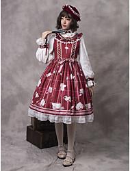 cheap -Artistic / Retro Artistic Style Sweet Lolita JSK / Jumper Skirt Female Japanese Cosplay Costumes Red Plaid / Check Floral Print Lolita Sleeveless Sleeveless Midi / Blouse / Dress / Blouse / Dress