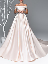 cheap -A-Line Off Shoulder Court Train Satin Short Sleeve Made-To-Measure Wedding Dresses with Beading / Appliques 2020