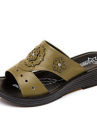 cheap -Women's Sandals Wedge Heel Round Toe Rhinestone Nappa Leather Casual / Minimalism Spring & Summer Black / Green / Brown