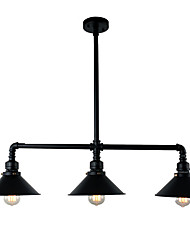 cheap -3-Light Vintage Industrial Pipe Pendant Lights Metal Shade Restaurant With 3 Head Painted Finish
