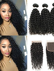 cheap -3 Bundles with Closure Peruvian Hair Kinky Curly Unprocessed Human Hair 100% Remy Hair Weave Bundles Natural Color Hair Weaves / Hair Bulk Hair Weft with Closure 8-20 inch Natural Color Human Hair