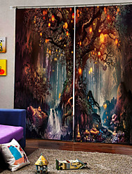 cheap -Wholesale Tree and Elf 3D Digital Printing Hallowmas Theme Window Curtain Luxury Party Curtains Bedroom Living Room  Decorative Blackout 100% Polyester Curtain Fabric