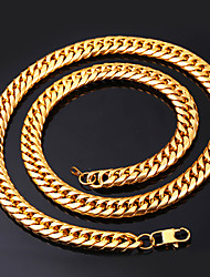 cheap -Men's Chain Necklace Thick Chain Box Chain franco chain Fashion Hip Hop Stainless Steel Black Gold Silver 55 cm Necklace Jewelry 1pc For Gift Daily