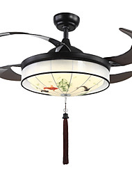 cheap -QINGMING® Circle / Mini Ceiling Fan Ambient Light Painted Finishes Metal Fabric Mini Style, Tri-color 110-120V / 220-240V Warm White+White