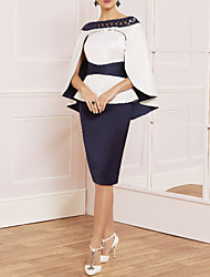 cheap -Sheath / Column Straight Neckline Knee Length Satin Sleeveless Vintage / Plus Size / Elegant Mother of the Bride Dress with Sash / Ribbon 2020