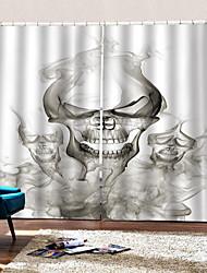abordables -occultation étanche à la poussière 100% polyester rideaux 2019 nouvelle 3d digtal impression rideau prêt à être fait heureux halloween thème fumée squelette fond rideau