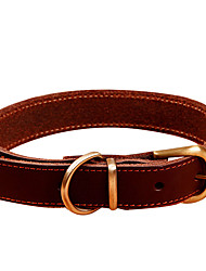 cheap -Dog Collar Genuine Leather Brown