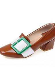 cheap -Women's Heels Chunky Heel Square Toe PU Sweet Spring / Fall & Winter Light Brown / Green / Red